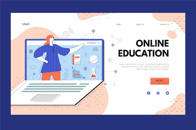 Online education and laptop landing page