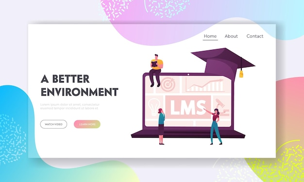 Online education, learning management system landing page template.