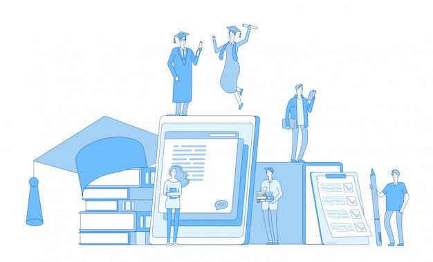 オンライン教育。図書館文化、文学辞書、言語学習生、コースの背景を学ぶ