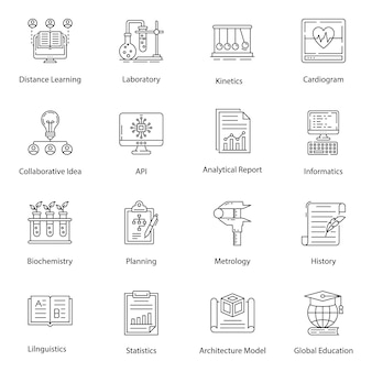 Online education line icons pack