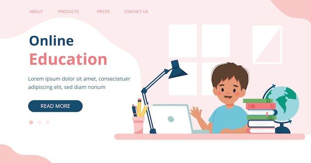 컴퓨터와 책으로 공부하는 온라인 교육 어린 소년