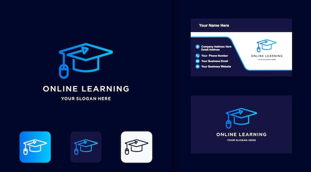 Online education logo and business card