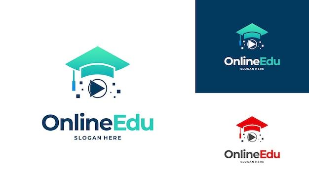 온라인 교육 로고 디자인 컨셉, 온라인 비디오 교육 로고 디자인 프리미엄 벡터