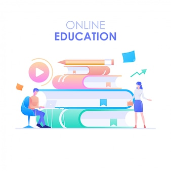 Online education, a man and woman character learning online and a stack of books on the background. online education concept. modern flat design vector illustration