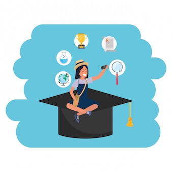 Online education millennial student academic hat