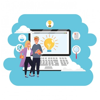 Online education millennial student laptop