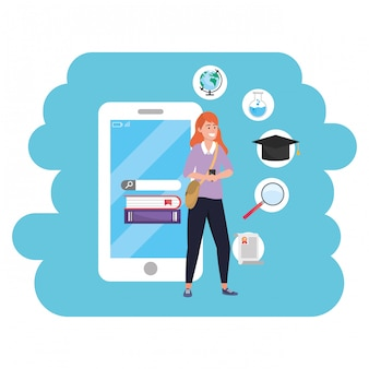 Online education millennial student using smartphone
