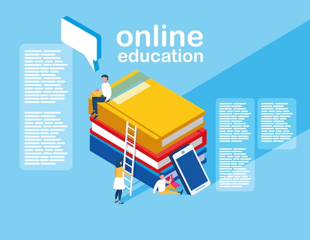 Онлайн обучение мини людей со смартфоном и электронными книгами