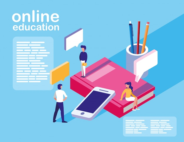 Online education mini people with smartphone and ebooks