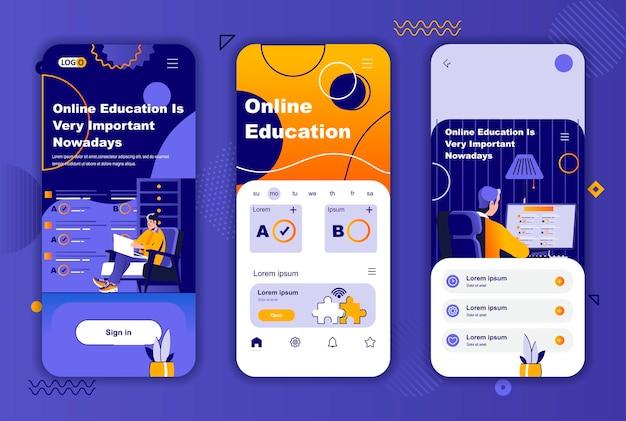 ソーシャルネットワークストーリーのオンライン教育モバイルアプリ画面テンプレート