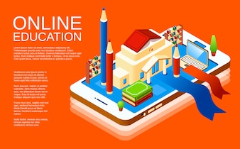 Online education mobile application poster design template on orange background