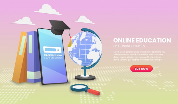 Online education on mobile with books application vector 3d vector illustration
