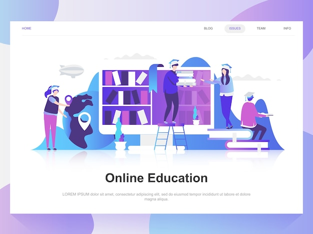 Online education modern flat design concept.