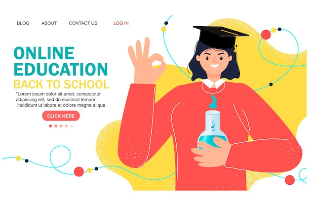 オンライン教育のモダンなフラットデザイン。オンライン学校のコンセプト。遠隔教育。ランディングページテンプレート。あなたのデザインのために。