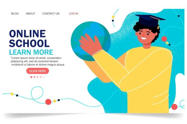 온라인 교육 현대적인 평면 디자인입니다. 온라인 학교 개념입니다. 원격 교육. 방문 페이지 템플릿입니다. 당신의 디자인을 위해.