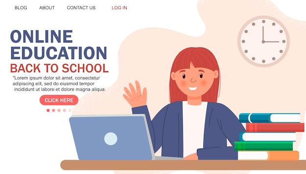 Современный плоский дизайн онлайн-образования. концепция онлайн-школы. дистанционное обучение. шаблон целевой страницы. для вашего дизайна.