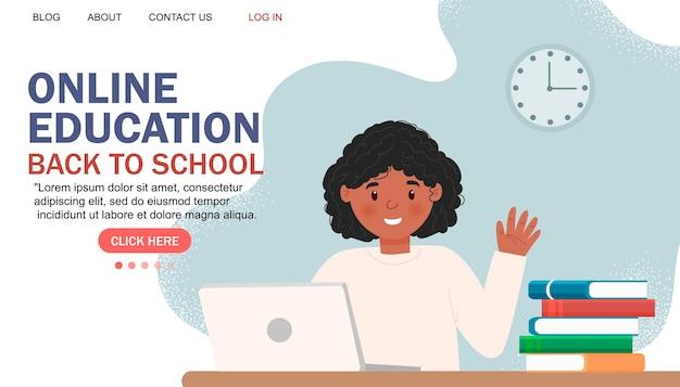 Online education modern flat design. online school concept. remote education. landing page template. for your design.