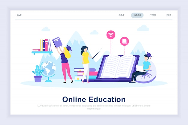 Online education modern flat landing page