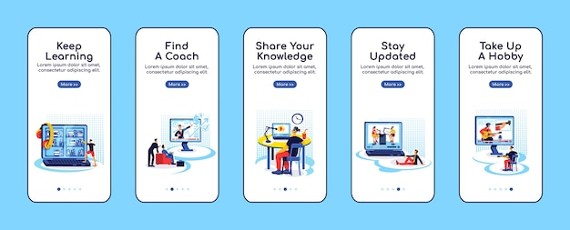 Online education onboarding mobile app screen flat template. stay updated. share knowledge. walkthrough website steps with characters. ux, ui, gui smartphone cartoon interface, case prints set