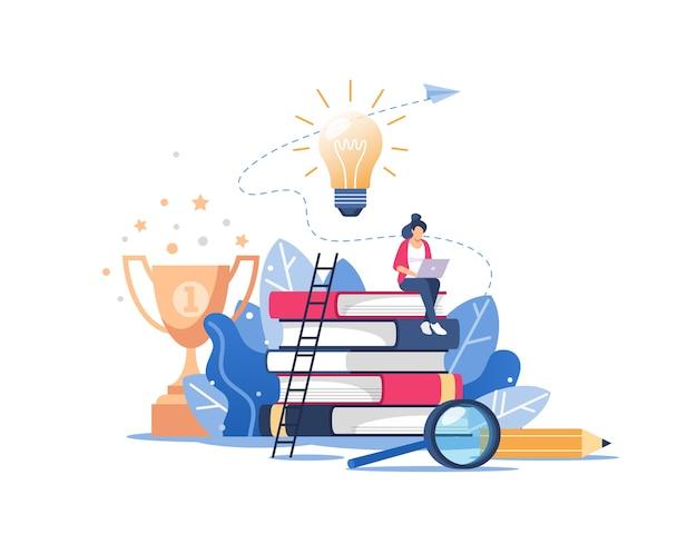 オンライン教育またはビジネストレーニングの概念、遠隔コース、ホームスクーリング。