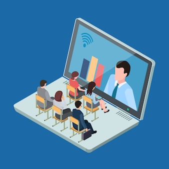 Интернет-образование или бизнес-тренинг изометрические вектор концепции иллюстрации