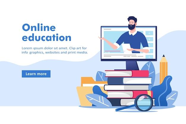 Онлайн-образование или бизнес-тренинг. куча книг и компьютер с наставником.