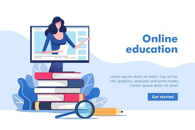 Онлайн-образование или бизнес-тренинг. куча книг и компьютер с учителем.