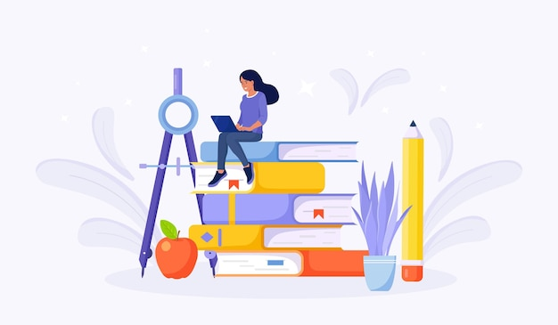Онлайн-образование или бизнес-тренинг. куча книг и студентка обучающих веб-курсов или учебных пособий с портативного компьютера. образовательный веб-семинар, интернет-классы, электронное обучение через веб-семинар
