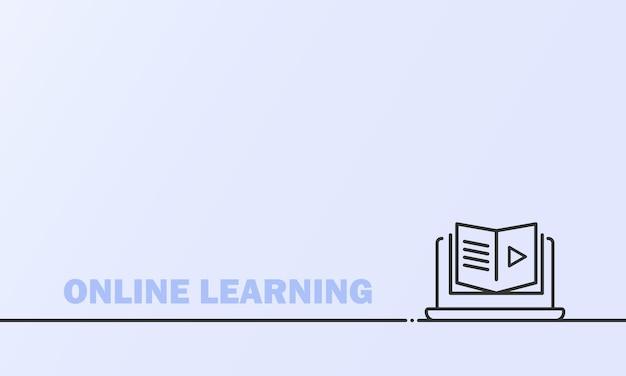 オンライン教育または距離試験のバナー。自宅からのコースeラーニング、オンライン学習。孤立した背景上のベクトル。 eps10。