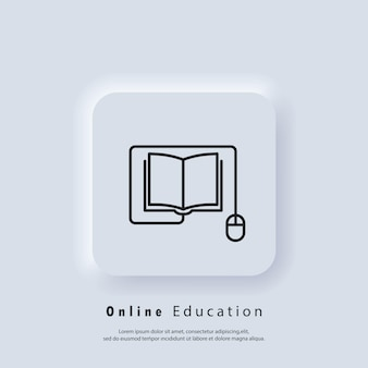 온라인 교육 또는 거리 시험 배너입니다. 원격 교육, 전자 책 아이콘입니다. 가정에서 온라인 학습, 온라인 학습 과정. 벡터. ui 아이콘입니다. neumorphic ui ux 흰색 사용자 인터페이스 웹 버튼입니다. 뉴모피즘