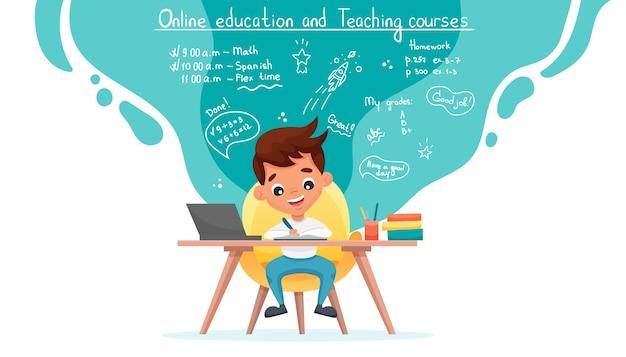 オンライン教育またはeラーニングのコンセプトバナー。かわいい男子生徒がテーブルに座ってノートパソコンで勉強します。