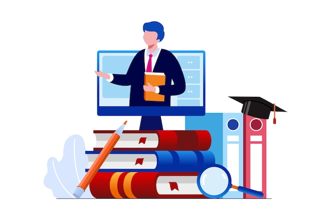 Онлайн-образование или обучение онлайн плоские векторные иллюстрации баннер и целевая страница