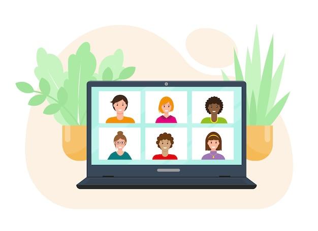 온라인 교육 또는 작업 개념 컴퓨터 화면 벡터 illustation에 화상 회의