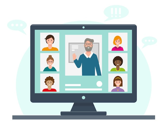 Онлайн-обучение или работа. видеоконференция на экране компьютера.