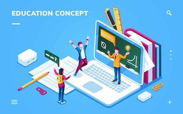 スマートフォンアプリケーションまたはデジタル大学のオンライン教育ページ、男性と女性の学生との学校のバナー。ノートブックと人がいるeラーニングページ。