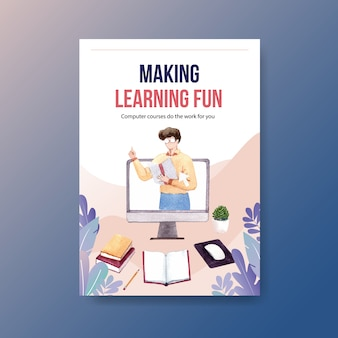 Online education poster concept design, leaflet and advertise watercolor