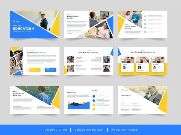 온라인 교육 프레젠테이션 슬라이드 디자인 프리미엄 벡터