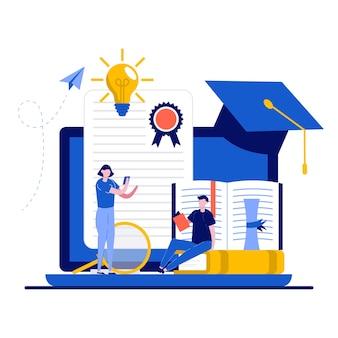Концепция школы онлайн-образования с крошечным характером.