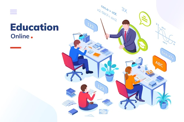 Online education school student lessons and university distance learning vector isometric concept