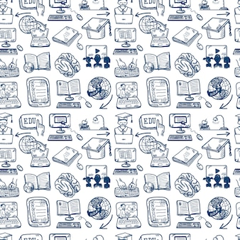 Online education seamless pattern, doodle style