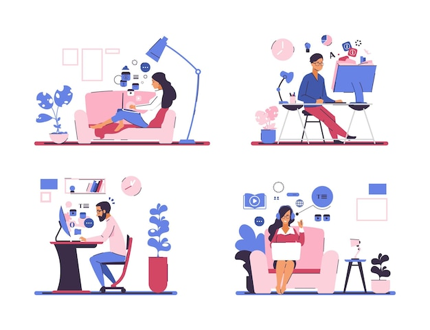 Online education. self training and web courses, learning from home on quarantine, online video lessons and tutorials. vector set flat illustration people in self-isolation or quarantine