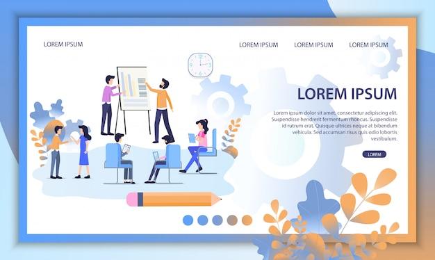 Online education service flat vector website