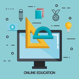 Online education set icons Premium Vector