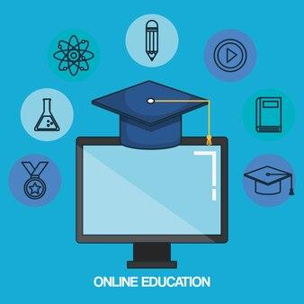 Online education set icons