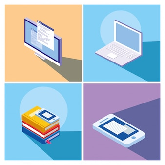 Online education set icons