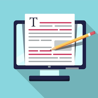 Online education story writing and storytelling, copywriting concept, text document editing, illustration. bug fix. in flat style. icon.