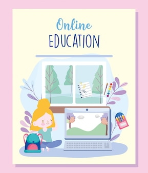 Online education, student girl in home with laptop, website and mobile training courses