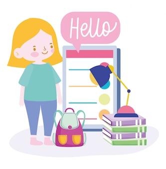 Онлайн-обучение, студентка с книгами для смартфона и рюкзаком