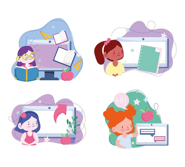 Online education, student girls computer tablet device technology, website and mobile training courses  illustration