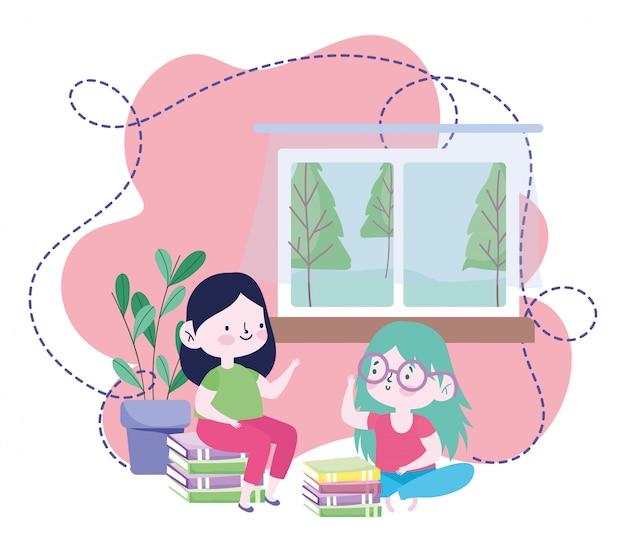 オンライン教育、家に積み重ねられた本を持つ学生の女の子